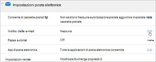 Screenshot: Scegliere Modifica per configurare l'inoltro della posta elettronica