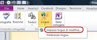 Lingua nella scheda Revisione della barra multifunzione di OneNote