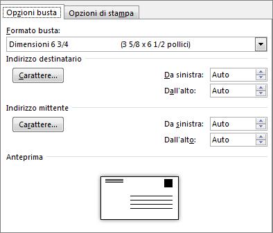 scheda opzioni busta per l'impostazione del formato della busta e del tipo di carattere dell'indirizzo