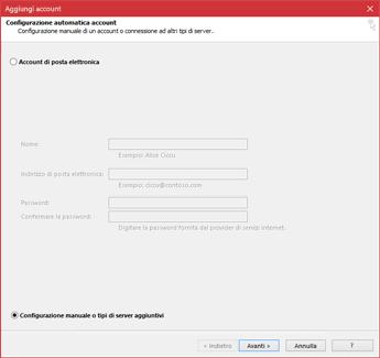 Scegliere Configurazione manuale o tipi di server aggiuntivi