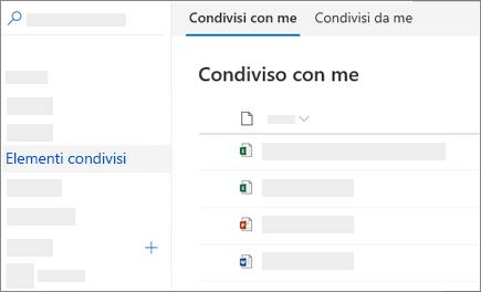 Screenshot della visualizzazione condivisi con me in OneDrive for business sul Web