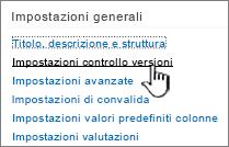 In Impostazioni generali selezionare Impostazioni controllo versioni