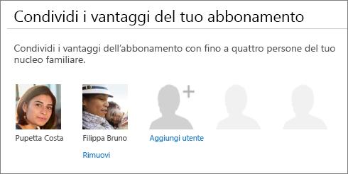 Sezione Condividi i vantaggi del tuo abbonamento della pagina Condividi Office 365 che mostra il collegamento Rimuovi sotto l'immagine di un utente.