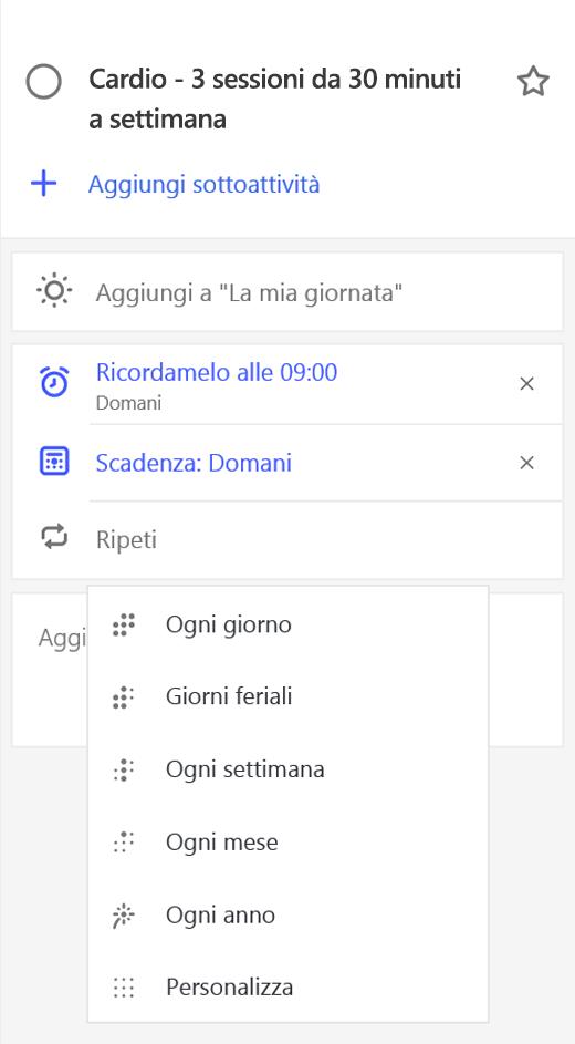 Screenshot che mostra la visualizzazione dettagli con l'opzione Ripeti selezionata.
