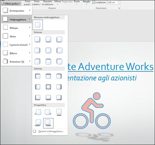 Aggiungere effetti come ombreggiature agli elementi grafici SVG con lo strumento Effetti grafica