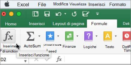Funzione opzione sulla barra multifunzione Inserisci