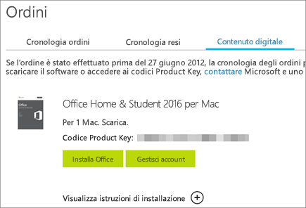 Mostra un ordine digitale di Office, il codice Product Key e i pulsanti per installare Office e gestire l'account Microsoft.