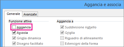Finestra di dialogo Aggancia e associa con l'opzione Aggancia deselezionata in Visio 2016