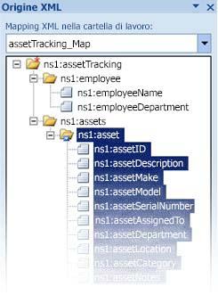 Mapping del file di schema InfoPath in Excel