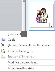 Per inserire un'immagine, fare clic con il pulsante destro del mouse su un'immagine di anteprima e scegliere Inserisci.