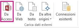 pulsante da access nella scheda dati