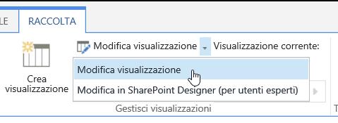 Scheda Raccolta con il comando Modifica visualizzazione evidenziato