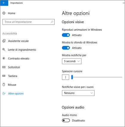 Riquadro Altre opzioni di Accessibilità nelle impostazioni di Windows 10