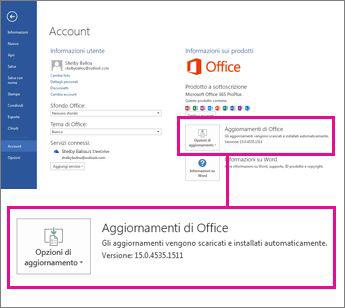 Il numero della versione è visualizzato in Aggiornamenti di Office