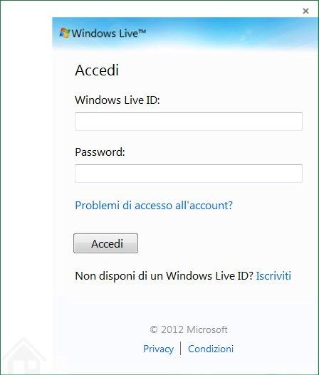 Finestra di dialogo di accesso a OneDrive