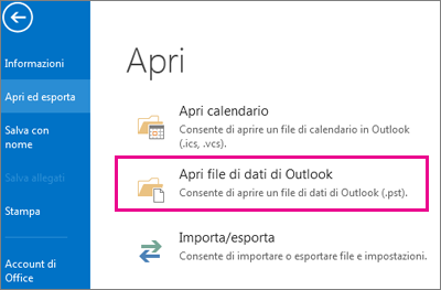 Comando Apri file di dati di Outlook