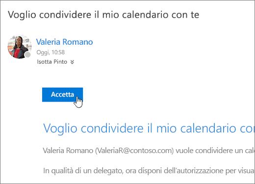 Screenshot di un invito per il calendario condiviso.