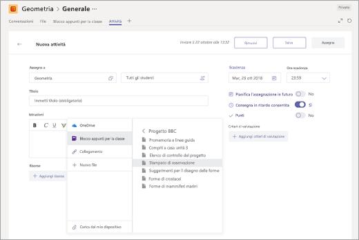 Selezione di una pagina del blocco appunti di OneNote per la classe da allegare a un'attività in Microsoft Teams