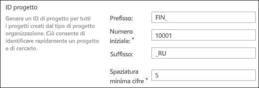 Impostazioni degli ID progetto