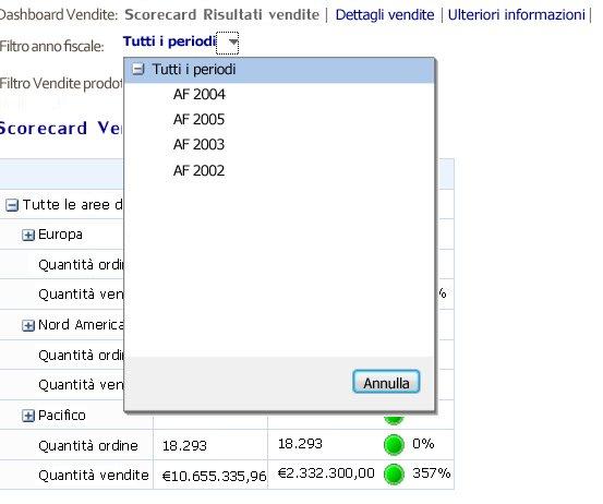 Filtro in cui viene visualizzato un controllo elenco