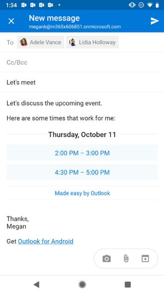 """Mostra una schermata di Android con una bozza di un messaggio di posta elettronica con gli orari suggeriti. Un pulsante """"X"""" si trova nell'angolo in alto a destra."""