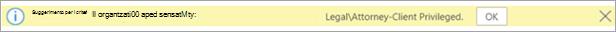 Screenshot di un suggerimento per i criteri per un'etichetta di sensitività applicata automaticamente