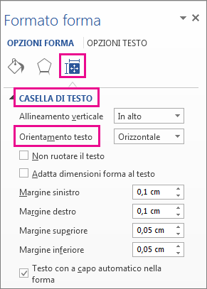 Selezione dell'orientamento del testo nel riquadro Formato forma