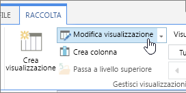 Opzione Modifica visualizzazione della scheda Raccolta della barra multifunzione di SharePoint Online