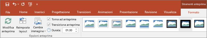 Strumenti anteprima nella scheda Formato sulla barra multifunzione di PowerPoint.