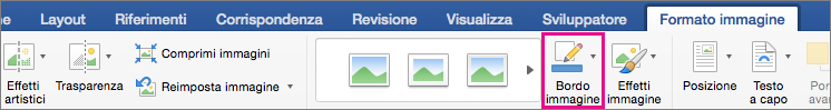 Scheda Formato immagine con l'opzione Bordo immagine evidenziata.
