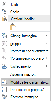 Menu Modifica testo alternativo di Excel Win32 per le immagini