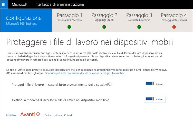 Screenshot della pagina Proteggi i file di lavoro nei dispositivi mobili