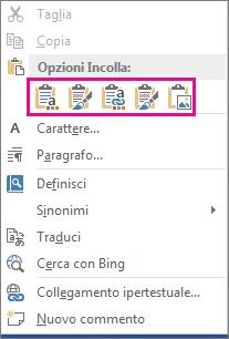 Gruppo delle cinque opzioni per incollare grafici di Excel in Word