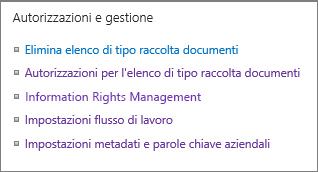Collegamenti delle impostazioni Autorizzazioni e gestione per l'elenco