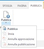 Schermata della scheda Pubblica che contiene pulsanti per la pubblicazione, l'annullamento della pubblicazione e l'invio di una pagina di pubblicazione per l'approvazione
