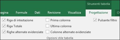 Immagine dell'opzione Strumenti tabella sulla barra multifunzione quando è selezionata una cella di tabella