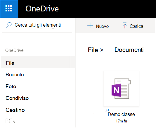 Cartella documenti di Microsoft account OneDrive