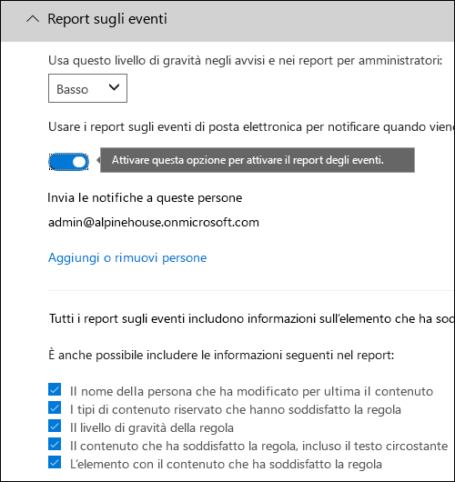 Pagina per la configurazione dei report degli incidenti