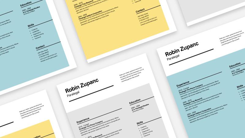 Immagine di più curriculum in colori e formati diversi
