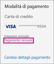 La sezione Pagamento nella pagina dell'interfaccia di amministrazione indica che il pagamento dell'abbonamento è annuale