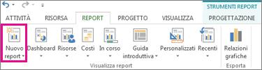 Pulsante Nuovo report nella scheda Report
