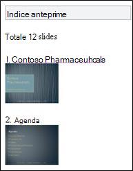 Indice anteprime nel visualizzatore di PowerPoint Mobile