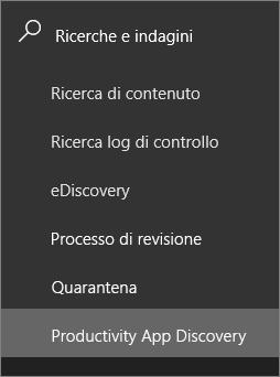 Schermata viene visualizzata la sezione ricerca e indagini nell'area di spostamento sinistro di sicurezza di Office 365 e centro conformità e l'individuazione di app produttività sia selezionata.
