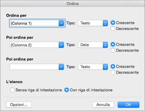 Opzioni che è possibile impostare nella finestra di dialogo Ordina.