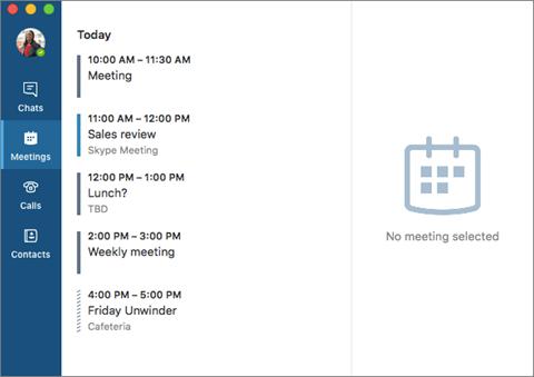 Finestra principale di Skype for Business per Mac