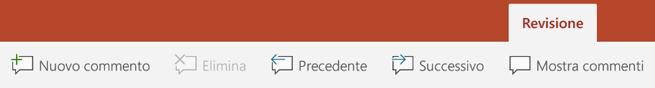 La scheda Revisione della barra multifunzione di PowerPoint nei tablet Android include pulsanti per l'uso di Commenti.