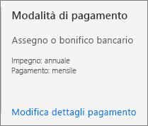L'interfaccia utente sulla modalità di pagamento mostra che l'abbonamento è configurato per il pagamento tramite fattura.
