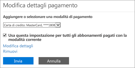 Riquadro Modifica dettagli pagamento quando un abbonamento è pagato tramite carta di credito o conto corrente bancario.