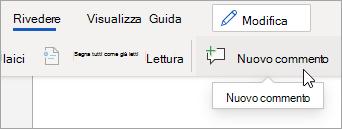 Fare clic su Nuovo commento nella scheda Revisione.