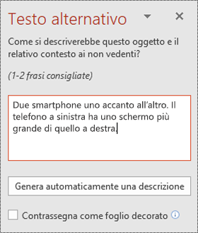 Riquadro testo alternativo in PowerPoint per Windows